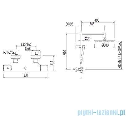 Tres Max-Tres Zestaw termostatyczny natryskowy Max chrom 061.393.01