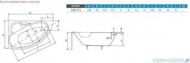 Piramida Bianka 150x95cm Wanna asymetryczna Prawa