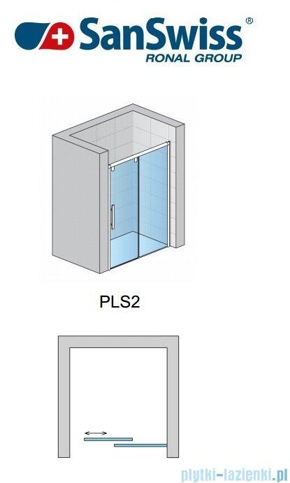 SanSwiss Pur Light S PLS2 Drzwi rozsuwane 170cm profil połysk szkło przejrzyste Prawe PLS2D1705007