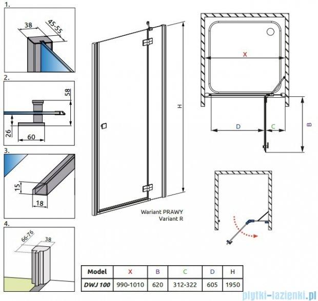 Radaway Almatea DWJ Gold drzwi wnękowe 100 prawe szkło grafitowe 31302-09-05N
