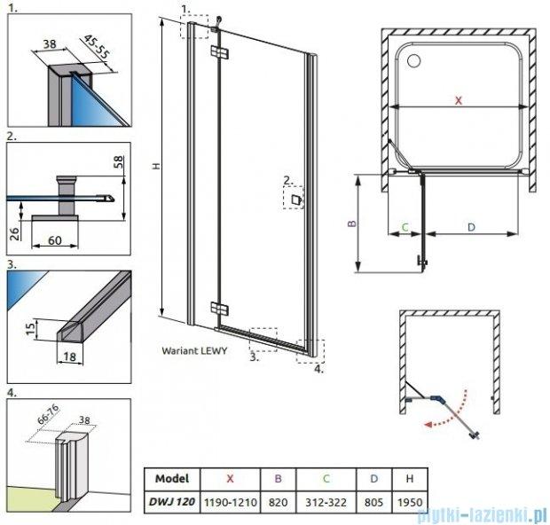 Radaway Almatea  DWJ Drzwi wnękowe 120 Lewe szkło przejrzyste 31402-01-01N