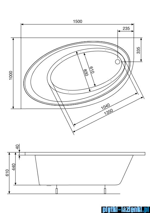 Roca Orbita wanna 150x100cm lewa z hydromasażem Smart Water Plus A24T204000
