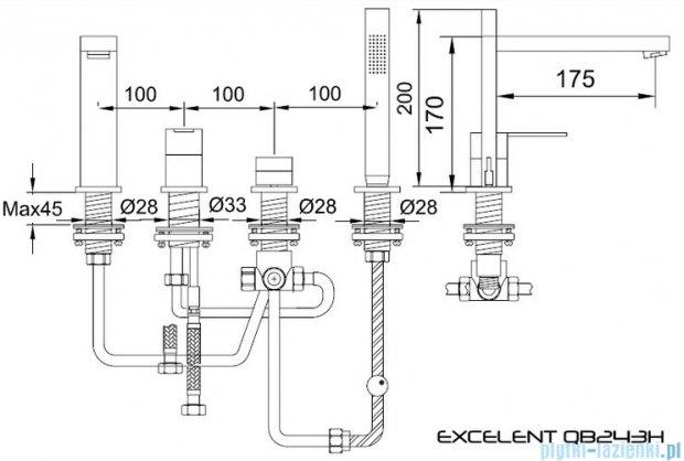 Kohlman Excelent 4-otworowa bateria wannowa z mieszaczem QB243H