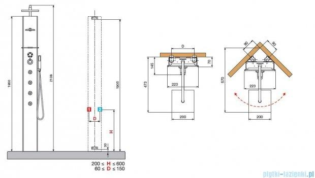 Novellini Aqua 1 Cascata 1 panel prysznicowy lustrzany bateria mechaniczna CASC1VM-W