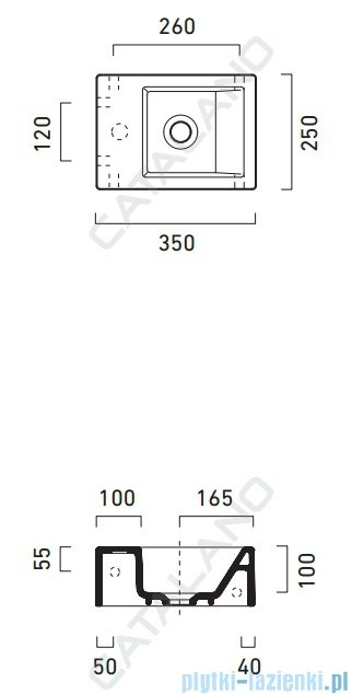 Catalano Verso Venticinque 35 umywalka 35x25 biała 135VE00