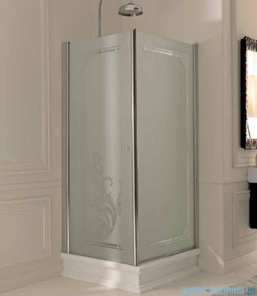 Kerasan Kabina prostokątna prawa, szkło dekoracyjne przejrzyste, profile złote 80x96 Retro 9141N1