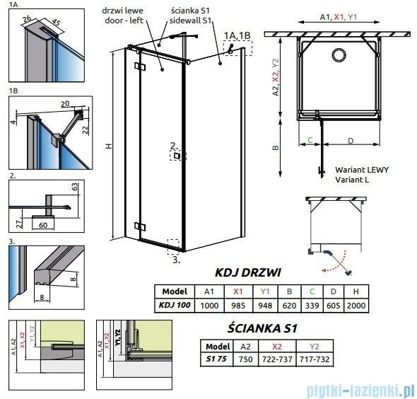 Radaway Essenza New Kdj+S kabina 75x100x75cm lewa szkło przejrzyste 385022-01-01L/384049-01-01/384049-01-01