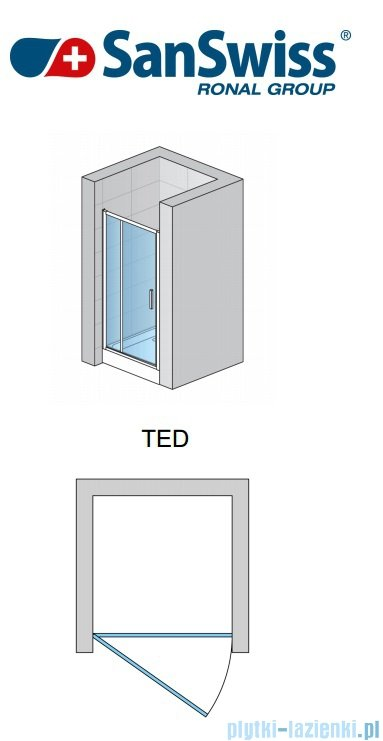 SanSwiss Top-Line Ted Drzwi 1-częściowe 70-140cm profil srebrny mat TEDSM10107