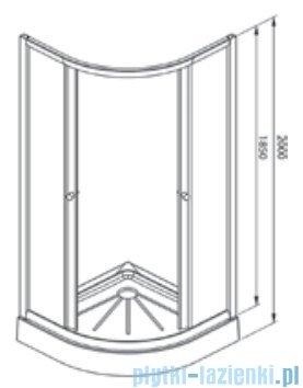 Alterna Iris kabina półokrągła 2-ścienna 80x80x185 cm przejrzysta ALTN-965771