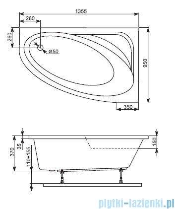 Aquaform Cordoba wanna asymetryczna 135,5x95cm lewa 241-05290P