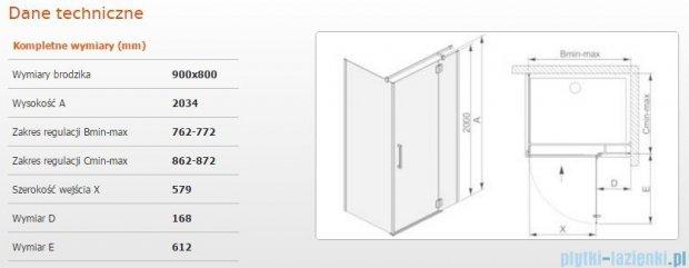 Sanplast kabina narożna prostokątna prawa przejrzyste KNDJ2P/AVIV-90x80 90x80x203 cm 600-084-0200-42-401