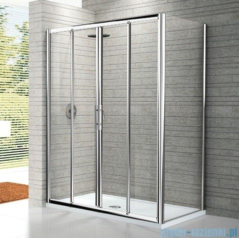Novellini Drzwi prysznicowe przesuwne LUNES 2A 116 cm szkło przejrzyste profil srebrny LUNES2A116-1B