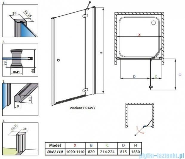 Radaway Torrenta DWJ Drzwi prysznicowe 110 prawe szkło carre 32040-01-10N