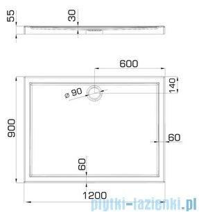Omnires Manhattan Kabina prostokątna 3M™ Easy Clean 90x120x195cm szkło przejrzyste+brodzik ADC92XLUX-T/3.067