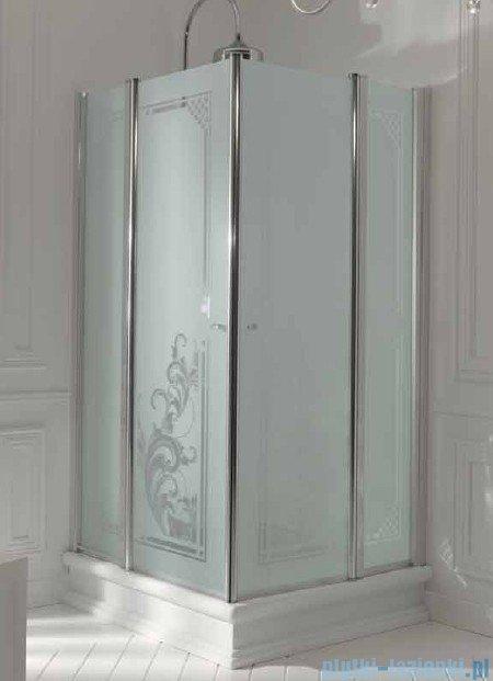 Kerasan Kabina kwadratowa, szkło dekoracyjne przejrzyste, profile brązowe 90x90 Retro 9145N3