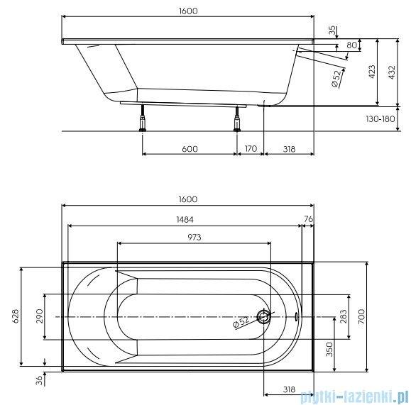 Koło Opal Plus wanna prostokątna z powłoką AntiSlide 160x70cm XWP1260101