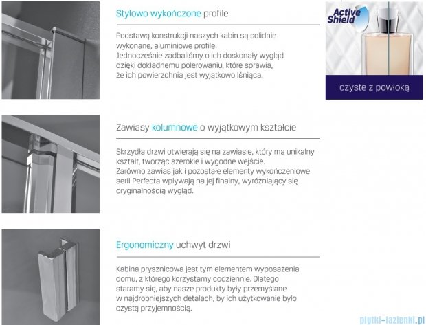 New Trendy Perfecta drzwi prysznicowe 140cm przejrzyste EXK-1187