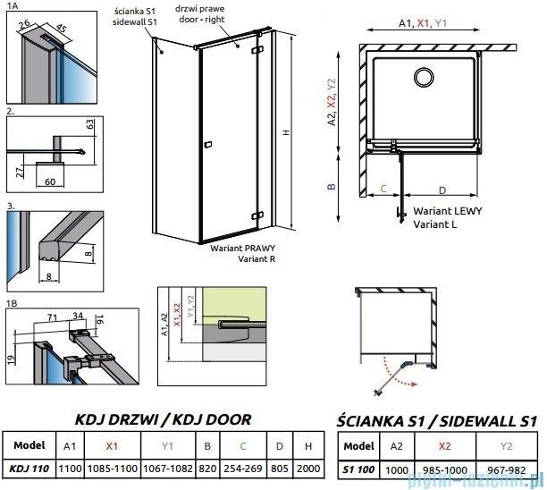 Radaway Essenza New Kdj kabina 110x100cm prawa szkło przejrzyste 385041-01-01R/384052-01-01
