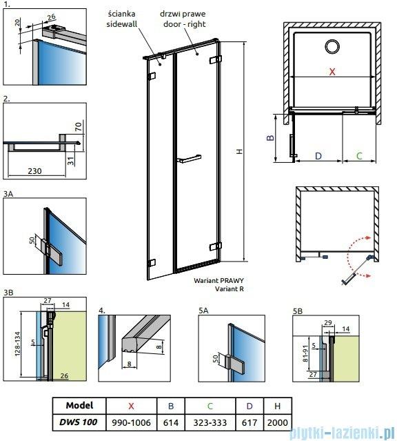 Radaway Arta Dws drzwi wnękowe 100cm prawe szkło przejrzyste 386628-03-01R/386091-03-01R