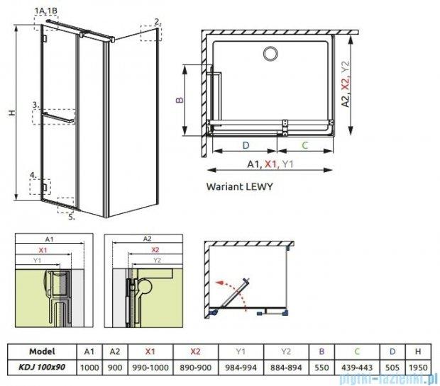 Radaway Carena Kdj Kabina prostokątna 100x90 lewa szkło przejrzyste 34444-01-01NL