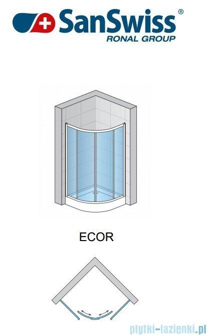 SanSwiss Eco-Line Kabina półokrągła Ecor 100cm profil srebrny szkło przejrzyste ECOR551000107