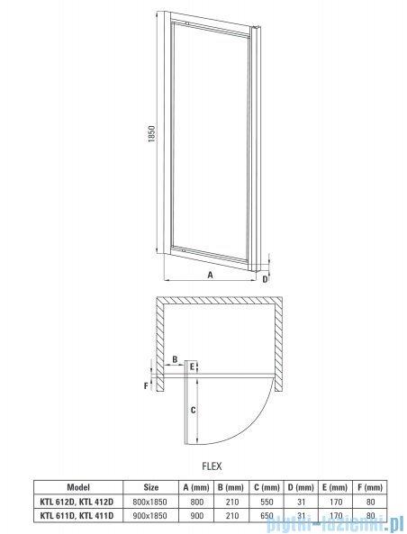 Deante Flex drzwi wnękowe uchylne 90x185 cm grafit KTL 411D