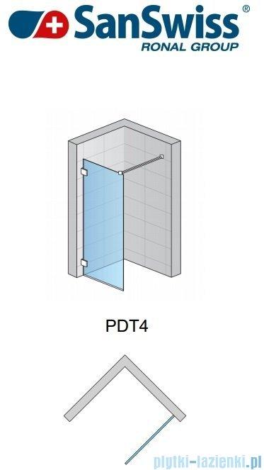 SanSwiss Pur PDT4 Ścianka wolnostojąca 100-160cm profil chrom szkło Krople Prawa PDT4DSM31044