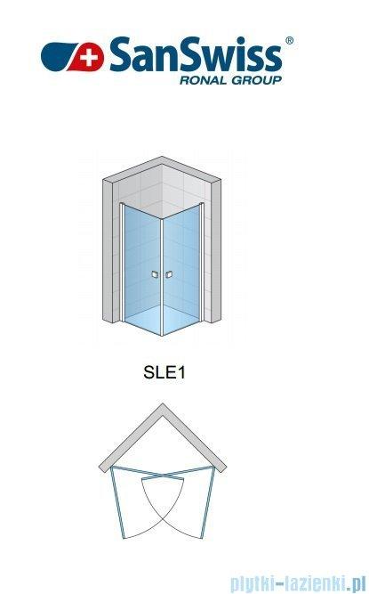 SanSwiss Swing-Line Sle1 Wejście narożne jednoczęściowe 75cm profil połysk szkło przejrzyste Lewe SLE1G07505007