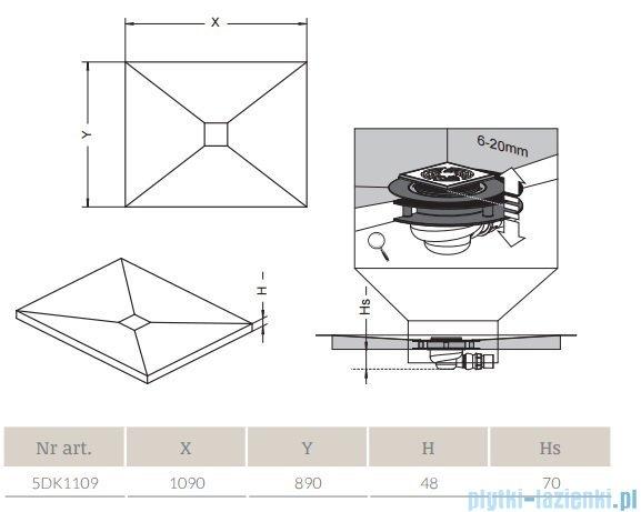 Radaway prostokątny brodzik podpłytkowy z kratką odpływową 109x89cm 5DK1109,5K01,5SK1