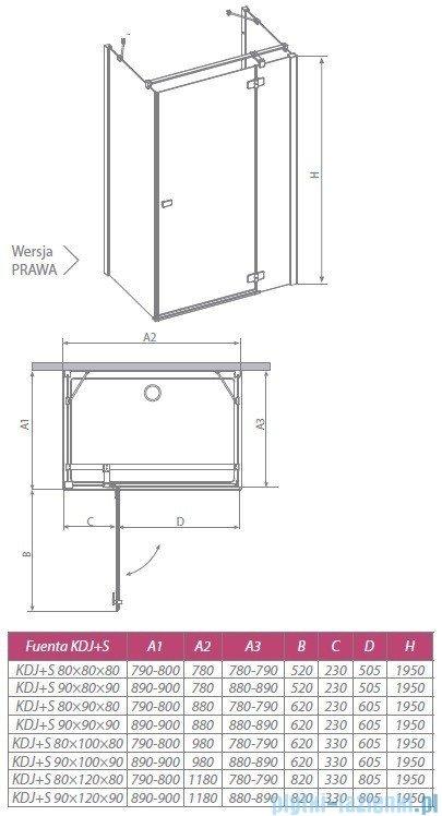 Radaway Kabina prysznicowa Fuenta KDJ+S 80x100x80 prawa szkło przejrzyste + Brodzik Argos D + syfon 381033-01R1 / 381033-01R2