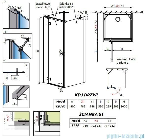 Radaway Essenza New Kdj+S kabina 75x80x75cm lewa szkło przejrzyste 385021-01-01L/384049-01-01/384049-01-01