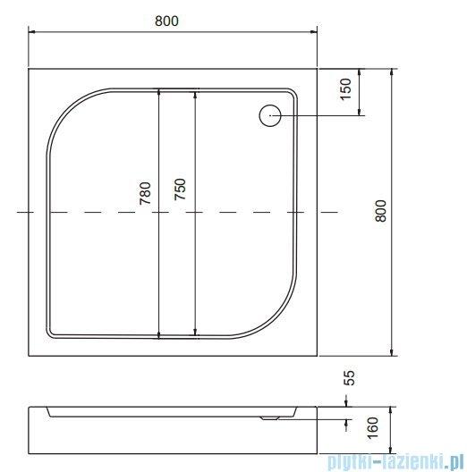 Sea Horse Sigma zestaw kabina natryskowa narożna kwadratowa 80x80 chinchilla + brodzik BKZ1/3/Q