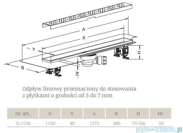 Radaway Rain Odpływ liniowy 115x8cm 5L115B,5R115R