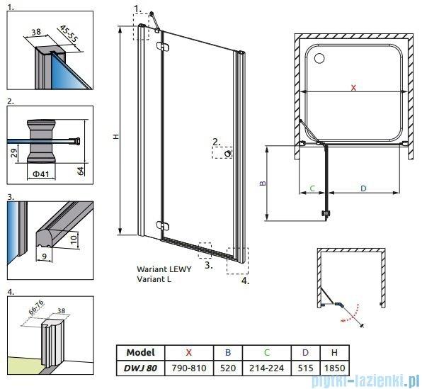 Radaway Torrenta DWJ drzwi wnękowe 80 lewe szkło grafitowe 31910-01-05N