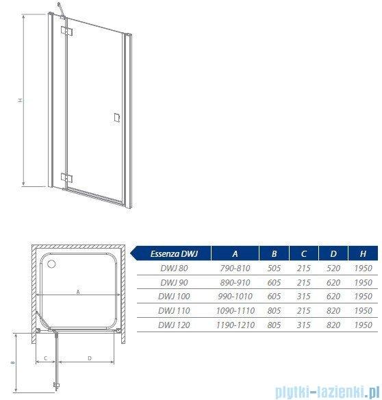 Radaway Essenza DWJ Drzwi wnękowe 80 prawe szkło brązowe 32712-01-08NR