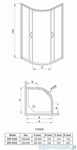 Deante Funkia kabina półokrągła 90x90x185 cm przejrzysta KYP 051K