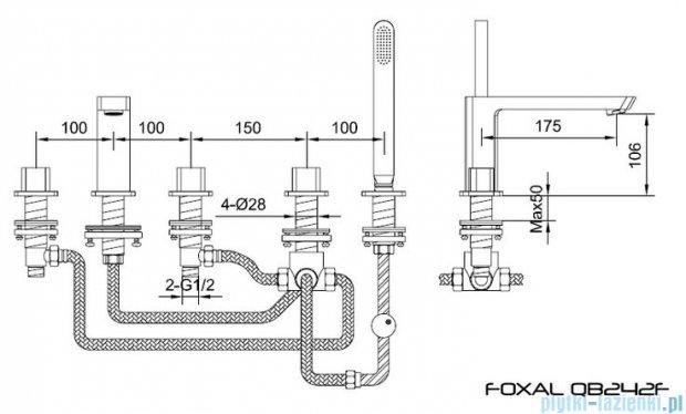 Kohlman Foxal 5-otworowa bateria wannowa QB242F