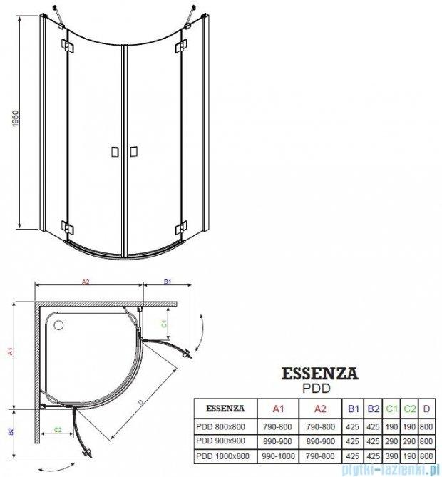 Radaway Essenza PDD kabina 100x100 szkło brązowe 32522-01-08N