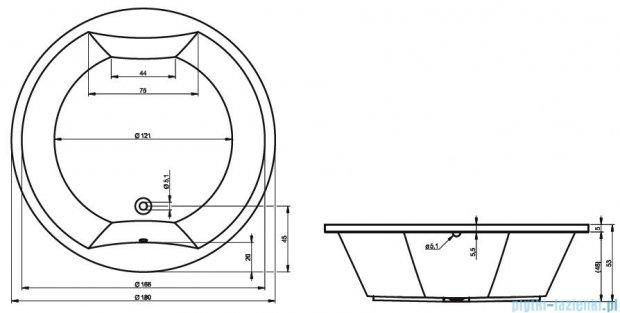 Riho Colorado wanna okrągła 180cm z hydromasażem LUX Hydro 4+3+3/Aero24 BB02L8