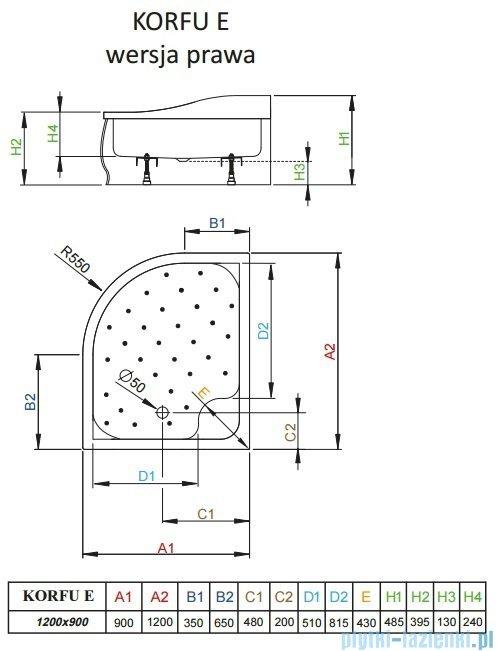 Radaway Brodzik półokrągły Korfu E 120x90 prawy 4E91240-03R