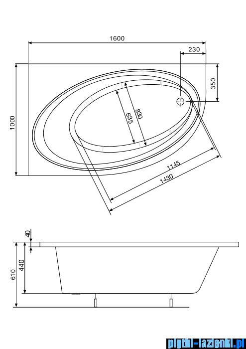 Roca Orbita wanna 160x100cm lewa z hydromasażem Smart WaterAir Plus A24T221000