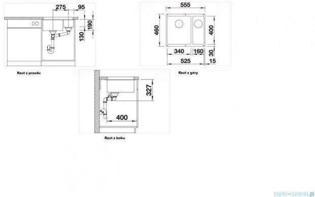 Blanco Subline 340/160-U zlewozmywak Silgranit PuraDur  kolor: tartufo  z k. aut. 517430