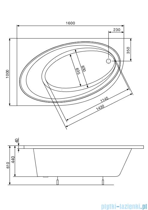 Roca Orbita wanna 160x100cm lewa z hydromasażem Effects Gold Opcja A24T223000