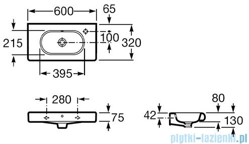 Roca Meridian-N Compacto Umywalka 60x32cm z otworem A32724T000