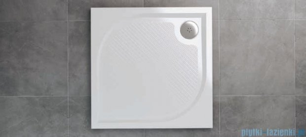SanSwiss WMQ Marblemate Brodzik konglomeratowy 80x80cm biały WMQ080004