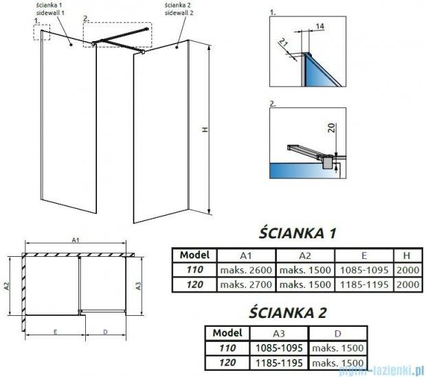 Radaway Modo New III kabina Walk-in 120x110x200 szkło przejrzyste 389124-01-01/389114-01-01/389000-01