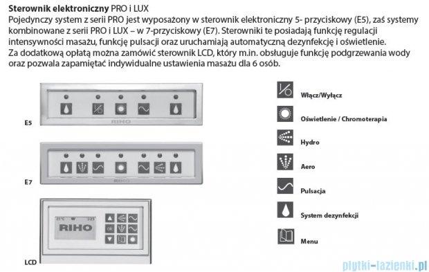 Riho Lusso Wanna prostokątna 190x80 z hydromasażem PRO Hydro 8+6+2/Aero16 BA59P8