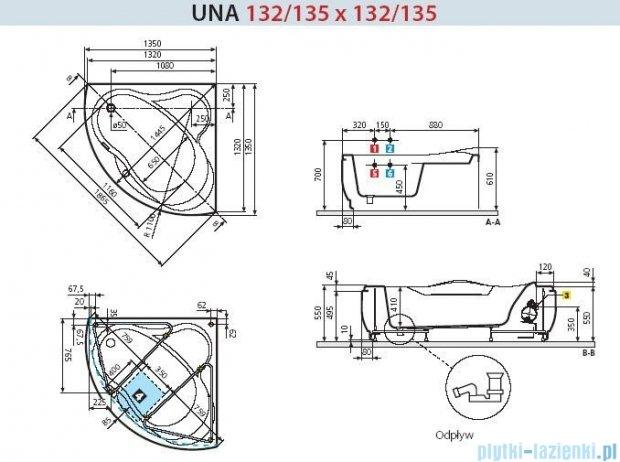 Novellini Wanna UNA ze stelażem 135x135 UNA2135135F-A0