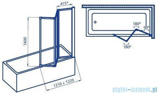 Aquaform Standard 3 parawan nawannowy 121x140cm szyba polistyrenowa profil biały 04010