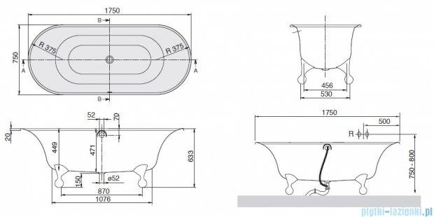 Villeroy&Boch Ceta Wanna Owalna 175x75  nóżki: aluminium    UBQ175CEA7U0V-01